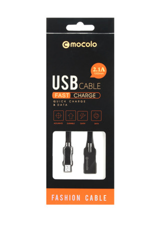 (4804) USB MOCOLO DURABLE MICRO USB 1M 2.1A BLACK